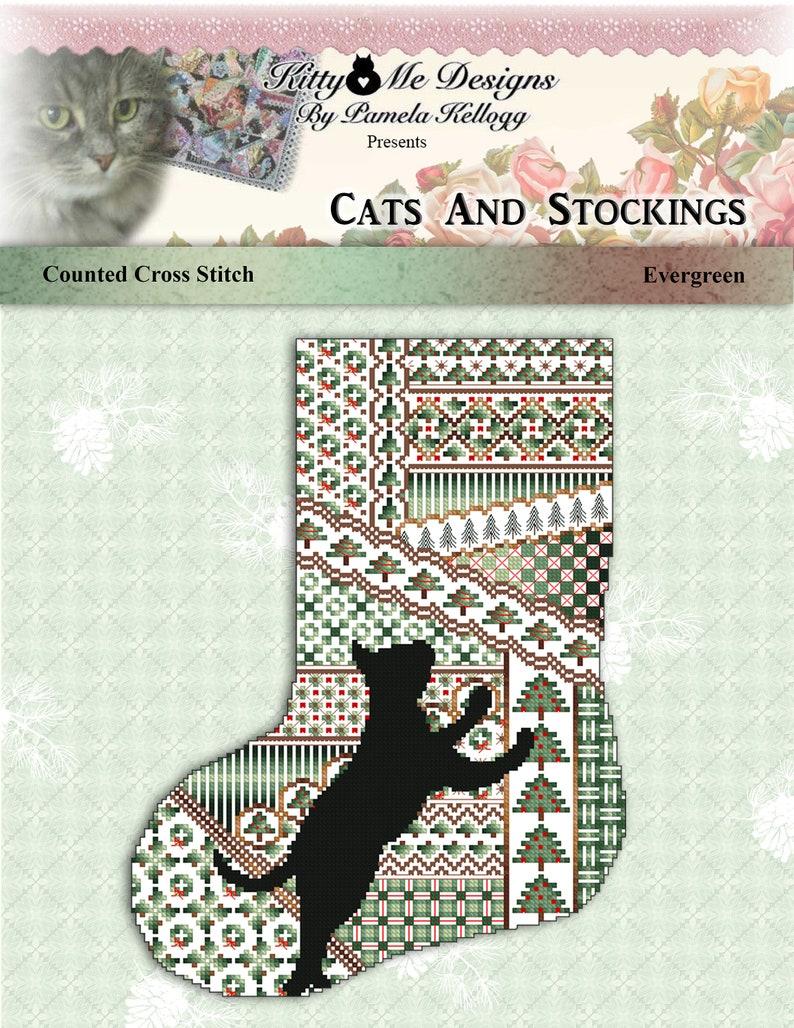 Cross Stitch Christmas Stocking Cats And Stockings Evergreen Pattern Leaflet by Pamela Kellogg