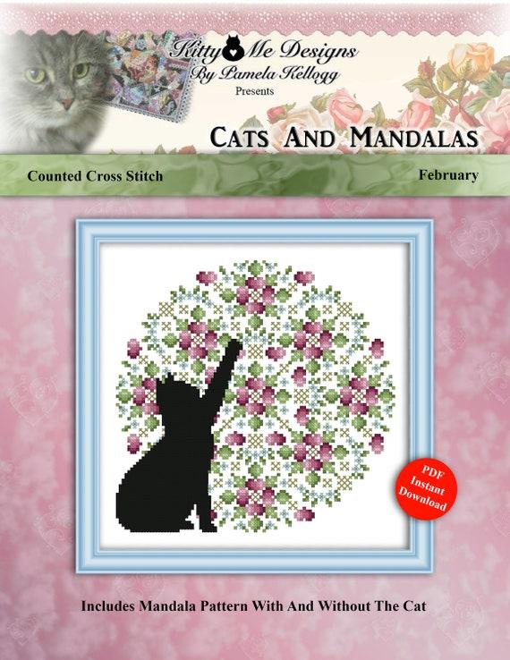 Cats And Mandalas August Cross Stitch Pattern Instant Digital PDF Download by Pamela Kellogg
