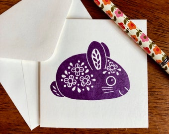 Little Bunny notecards, gift enclosures, Easter cards, purple rabbit
