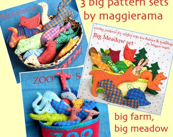 3 Big Pattern Sets - combo - INSTANT DOWNLOAD - small stuffed toys to sew - Scrap Savers, Stocking Stuffers, Christmas Ornaments, farm, zoo