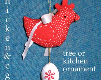 Chicken 'n Egg ornament sewing pattern - INSTANT DOWNLOAD