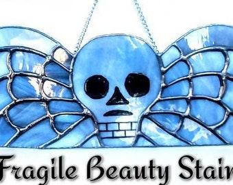 Stained Glass Winged Skull - Original Design by Sarah Segovia - Memento Mori Skull -  Stone Grey Glass - Design by Fragile Beauty - Gothic