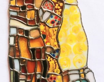 Stained Glass The Kiss Gustav Klimt Fine Art - Glass Design by Sarah Segovia of Fragile Beauty - Stained Glass Reproduction The Kiss