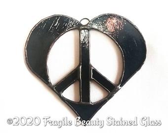 Stained Glass Peace Heart - Heart Peace Design by Sarah Segovia - Peace Sign Heart Suncatcher - Glass Art By Fragile Beauty - Wispy Grey