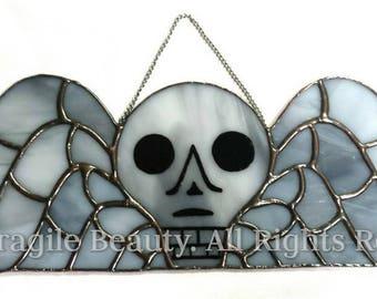 Winged Skull Stained Glass -Gravestone Stained Glass - Memento Mori - Winged Skull  - Sarah Segovia - Fragile Beauty - Gothic Cemetery
