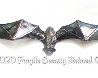 Stained Glass Flying Bat - Glass Art by Sarah Segovia - Flying Bat Stained Glass Metal Cast Body -  Stained Glass Design by Fragile Beauty
