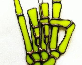 Stained Glass Skeleton Devil Horns - Original Design by Sarah Segovia of Fragile Beauty - Bright Lime Green Glass - Metal Gothic Skeleton