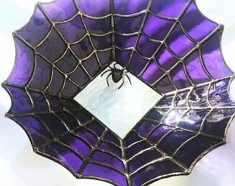Stained Glass Spider Web Bowl/Dish - Original Design by Sarah Segovia of Fragile Beauty - Spiderweb Bowl with Metal Spider Attached