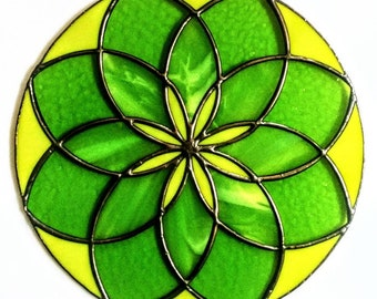 Stained Glass Mandala - Multi- Greens Stained Glass Round Panel - Design by Sarah Segovia of Fragile Beauty - Lime Green - Lemongrass Citron