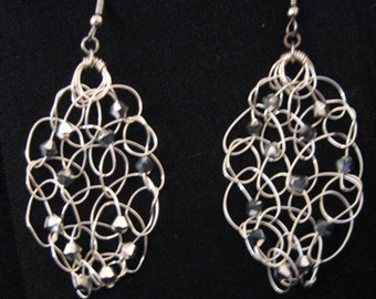 Woven Wire and Swarovski Earrings