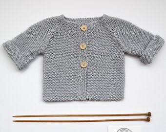 Hand Knit Cotton Baby Cardigan - Silver Grey