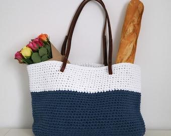 Handmade Crochet Bag - 100% Upcycled Yarn - White + Denim