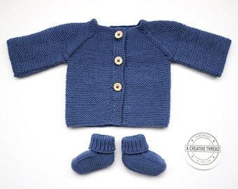 Hand Knit Baby Cardigan + Bootie Set - Denim Blue