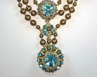 TUTORIAL for KRYSTINA a Crystal and Pearl Bead Stitched Necklace