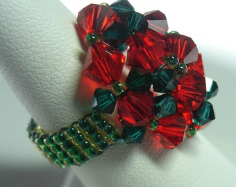 TUTORIAL for Christmas Crystal Beaded Wonderdome Ring