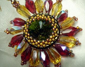 Gardeners Delight    Crystal Bead Stitched Rivoli Earrings