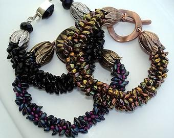 TUTORIAL for NO GLUE Magatama Bead Kumihimo Braided Bracelet