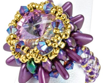 TUTORIAL Starfish Beaded Crystal Super duo and Triangle Ring