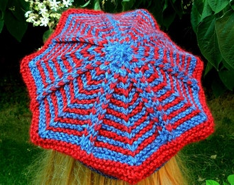 Large Zigzag Tam in Red and Blue Colorway Handknit Soft Acrylic