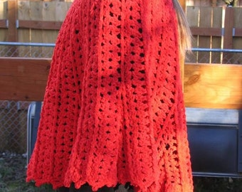 Plus Size Red Crocheted Poncho