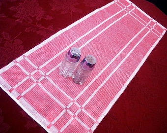 Red and White Reversible Handwoven Table Runner