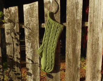 Bavarian Twist Stitch Christmas Stocking in Olive Green