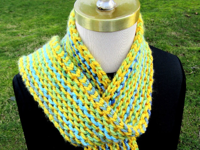 Double Garter Stripes Scarf Digital Download Knitting Pattern Etsy