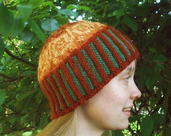 PDF Knitting Pattern:  Autumn Swirl Fair Isle Cap