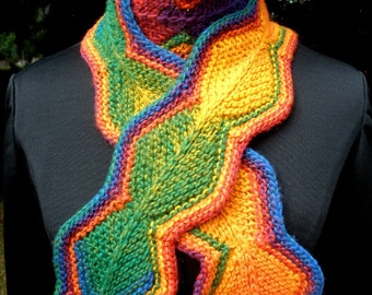 Chain of Diamonds Rainbow Scarf Red Orange Yellow Blue Green Violet Knit
