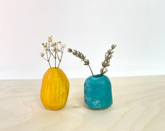 Tiny Handmade Ceramic Vases / Two Cute Vessels by Rachel Austin