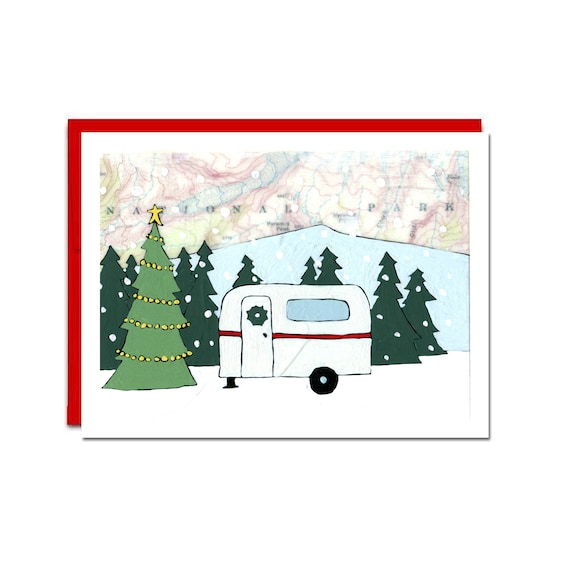 Camping Christmas Cards.Holiday Camper Card Set Of 6 With Red Envelopes Camping Christmas Card Map Art Blank Inside