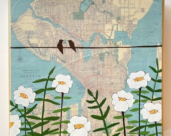 Vintage Seattle Map Painting with Birds and Flowers / 8x8 Washington Map Art by Rachel Austin