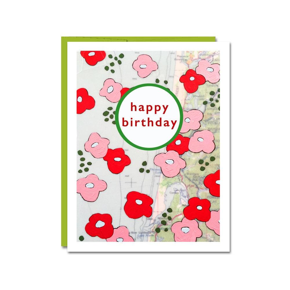 New Birthday Flowers Card Happy Birthday Map Art Card Friend Birthday Mom Birthday Card Rachel Austin