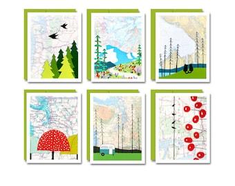 Washington Map Art Card Set / Everyday Blank Box Card Set of 6 Unique PNW Cards