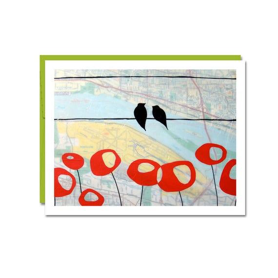Map Card Austin Marine Drive Map Card // Art Card // Blank Card // Modern | Etsy
