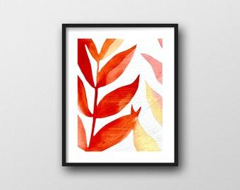 Red Leaves Print // Modern Watercolor Botanical Art Print by Rachel Austin