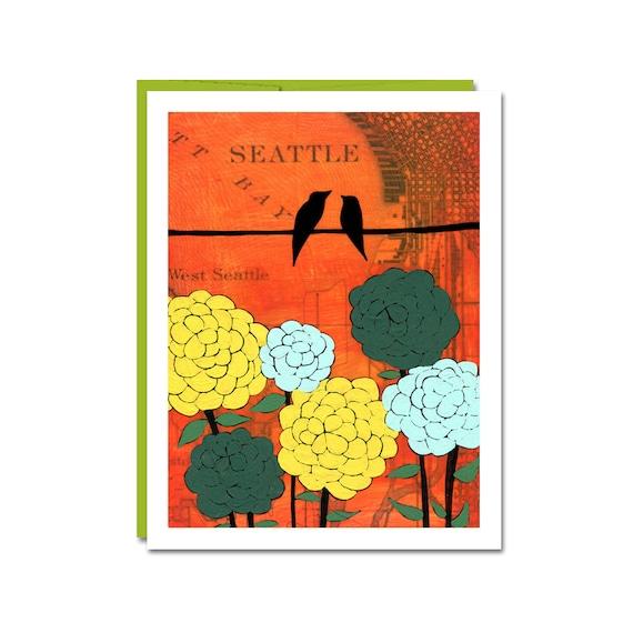 Elliott Bay Map Card // Bird Notecard // Blank Card // Seattle Card // NW  Art Card // Everyday Card // Washington // Rachel Austin Card