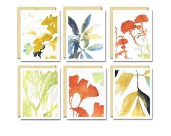 Watercolor Botanical Card Set / Blank Everyday Card Box Set of 6 Great Gift for Gardener and Plant Lovers