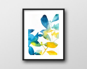 Blue Camellia Print // Modern Watercolor Botanical Art Print by Rachel Austin