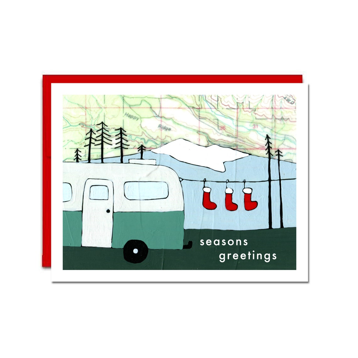 Map Art Holiday Camper And Stockings Card Set of 6