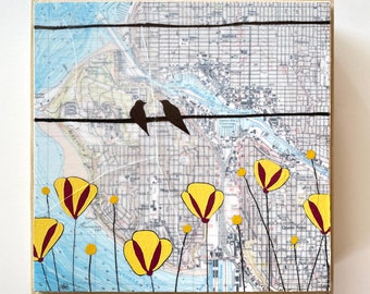 Vintage Seattle Map Painting with Birds and Flowers / 6x6 Puget Sound Map Art by Rachel Austin