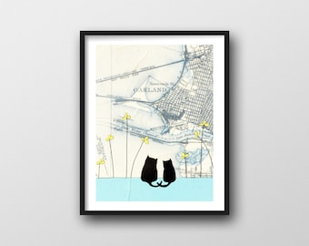 Oakland Map Art Print with Two Cats // Great Oakland Gift or Wedding Gift 8x10 or 11x14 Art Print