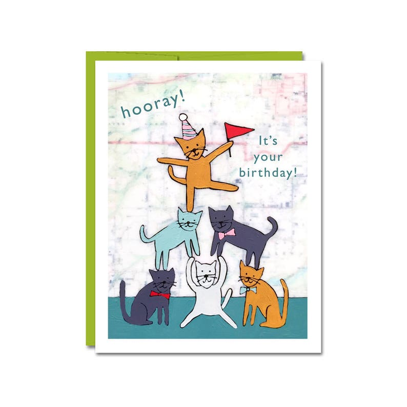 Funny Cat Birthday Card For Lover With Cute Cats And Party