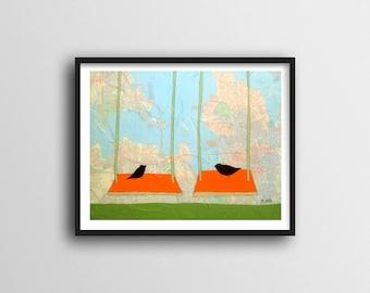 Cute Bird Art for Kids Room Decor // 11x14 Map Art Print