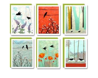 Bird Card Set / Blank Map Greeting Cards Cute Box Set of 6 Bird Stationary