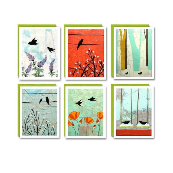 Bird Card Set / Blank Map Greeting Cards Cute Box Set of 6 Bird Stationary