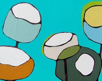 Large Abstract Art on Canvas // 24x24 Modern Poppy Art Print