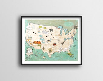 USA Map for Kids Map Art Print // Colorful Map of USA with Pictures 8x10 or 11x14 or 16x20 Print