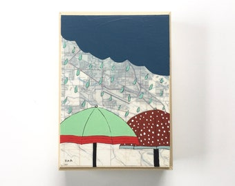 Umbrella Artwork with Map // 5x7 Map Painting for Rain Lovers