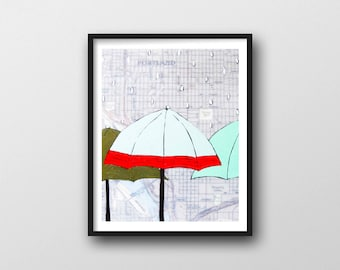 Portland Map Print with Umbrella Art // 11x14 Art Print by Portland Artist Rachel Austin
